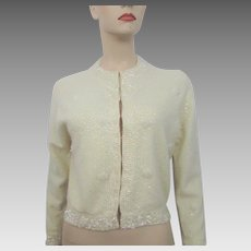 Crystal Beaded Cardigan Sweater Vintage 1950s Lambswool Angora