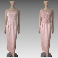 Pink Wiggle Bombshell Dress Vintage 1960s Satin Sequined Beaded Vest Maxi Evening Gown