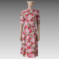 Floral Irish Linen Day Dress Vintage 1950s Pink Red Green Belt Moygashel Large