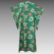 Green Hawaiian Caftan Kaftan Vintage 1970s Hibiscus Floral Scenic Print
