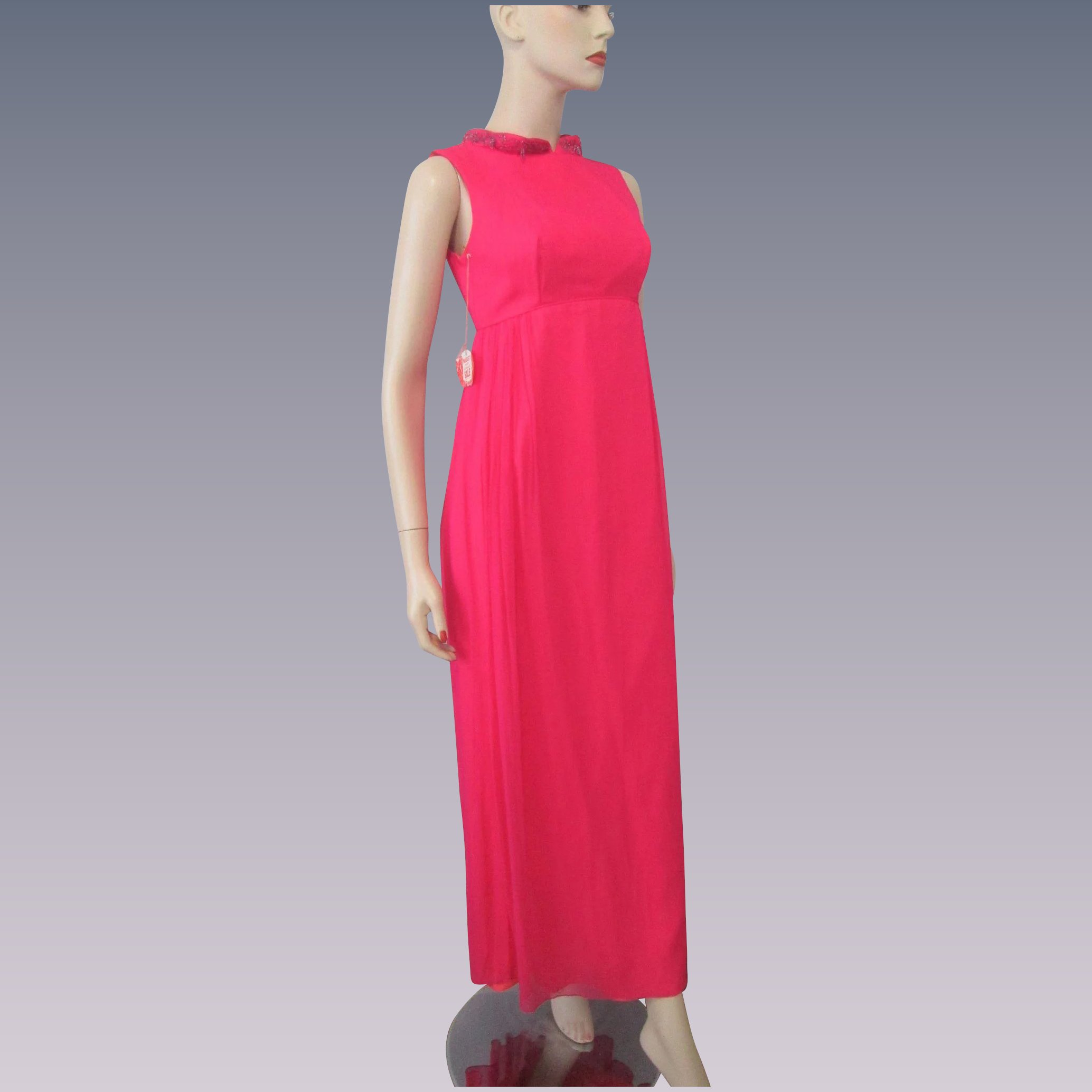 Hot Pink Beaded Evening Gown Vintage 1960s Maxi Party Prom ...