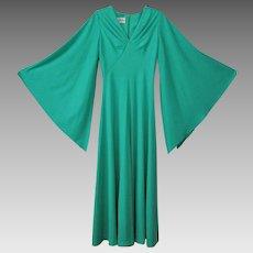 Green Bell Sleeve Maxi Dress Vintage 1970s Evening Gown Julie Miller California