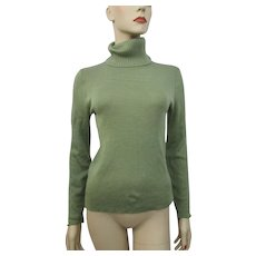Green Turtleneck Sweater Vintage 1970s Sage Acrylic Wool - Red Tag Sale Item