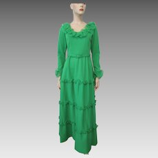 Green Maxi Dress Evening Gown Vintage 1970s Ruffles Belt