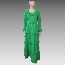 Green Maxi Dress Evening Gown Vintage 1970s Ruffles Belt