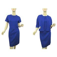 Womens Mod Suit Vintage 1960s Skirt Shirt Jacket Royal Blue White