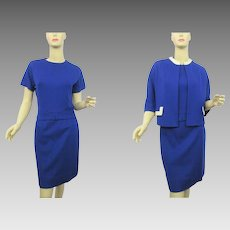 Womens Mod Suit Vintage 1960s Skirt Shirt Jacket Royal Blue White