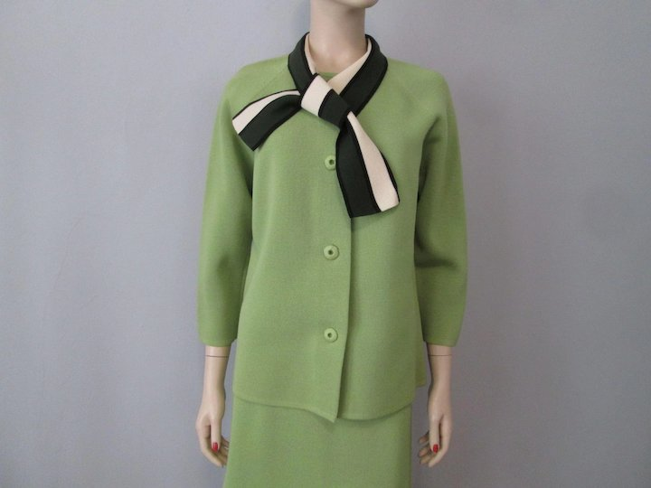 Womens Wool Suit Jacket Skirt Vintage 1960s Mod Ascot Lime Green