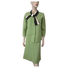 Womens Wool Suit Jacket Skirt Vintage 1960s Mod Ascot Lime Green Larger Size