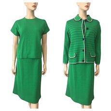 Womens Mod Three Piece Wool Suit Vintage 1960s Kelly Green Navy Jacket Sweater Skirt