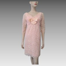 Pink Lace Cocktail Dress Vintage 1960s Satin Bow Party Special Occasion