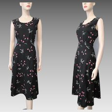 Black Floral Sundress Dress Vintage 1950s Sleeveless