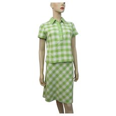 Womens Skirt Blouse Suit Vintage 1960s Green Checked Plaid Linen