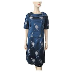 Asian Mod Blue Silk Brocade Suit Vintage 1960s Blouse Skirt Floral Hong Kong