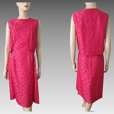 Hot Pink Brocade Cocktail Dress Vintage 1960s Mod Sleeveless