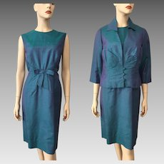 Silk Shantung Dress Jacket Suit Vintage 1960s Iridescent Green Blue Purple