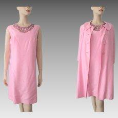Mod Pink Silk Shantung Cocktail Dress Jacket Suit Vintage 1960s Jackie O Beaded Set