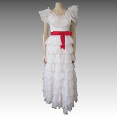 Prom Dress Formal Gown Wedding Vintage 1970s White Ruffles Off The Shoulder Red Sash