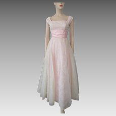 Vintage 1960s Prom Dress Formal Gown Floral Pink Satin Maxi Sleeveless