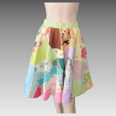 Full Circle Swing Skirt Vintage 1950s Patchwork Rick Rack Spring Colors