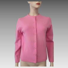Pink Cardigan Sweater Vintage 1950s Lambswool Angora Pearl Buttons