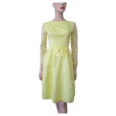 Yellow Lace Cocktail Dress Vintage 1960s Bow Party Prom Bridesmaid