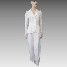 White Disco Jacket Wide Leg Pants Suit Vintage 1970s Polyester Womens Set