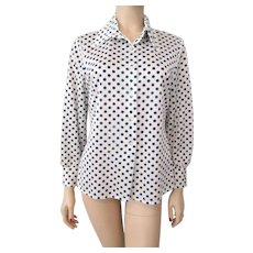 Polka Dot Blouse Vintage 1970s Pointed Collar Button Front Navy White