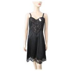 Deadstock Black Lingerie Full Slip Vintage 1960s Lace B36