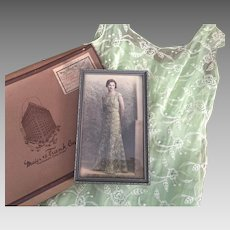 Vintage 1930s Wedding Dress Green Organdy Lace Full Slip Provenance