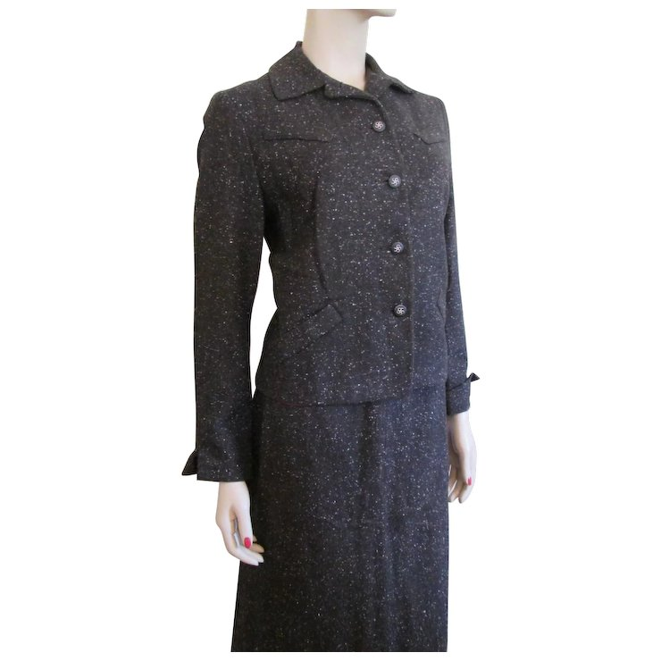 Tweed Suit Jacket Skirt Vintage 1940 S Tailored Womens Clothing Sold