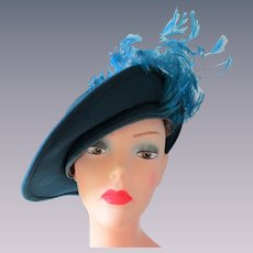 Turquoise Blue Church Hat Vintage 1960s Wool Felt Feathers