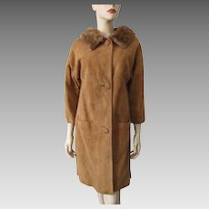 Suede Leather Mink Fur Coat Vintage 1960s Honey Brown Womens Large