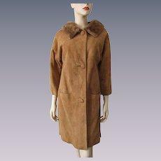 Suede Leather Mink Fur Coat Vintage 1960s Honey Brown Womens Large