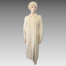 Blonde Mink Fur Coat Hat Vintage 1960s Full Length