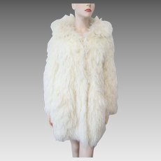 Boho Shaggy String White Faux Fur Coat Vintage 1970s French Crissa by Thayer