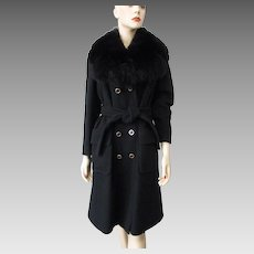 Black Wool Coat Vintage 1970s Double Breasted Faux Fur Collar Large