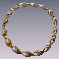 Kramer Rhinestone Choker Necklace Vintage 1950s Gold Link Signed Costumer Jewelry
