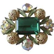 Emerald Green Juliana Delizza Elster Brooch Vintage 1960s Aurora Borealis Filigree Pin