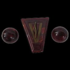 Art Deco Bakelite Dress Clip Earrings Vintage 1940s Black Cherry Prystal Applejuice Demi Parure