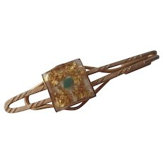 Confetti Lucite Tie Bar Clip Vintage 1960s Gold Plated Mens Jewelry