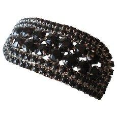 Vintage 1950s Black Rhinestone Clamper Bracelet