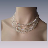 Laguna Austrian Cut Crystal Necklace Vintage 1950s Three Strand Choker Signed Wedding Special Occasion