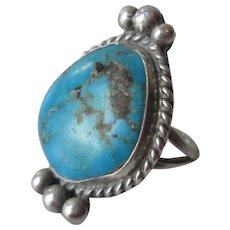 Sterling Silver Turquoise Navajo Ring Vintage 1950s Hand Crafted Native American SS