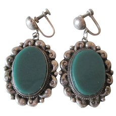 Sterling Silver SS Dangle Earrings Vintage 1950s Guadalajara Mexico Jade Green Onyx AHS Large Size