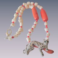 Signed Kenneth Jay Lane Necklace Vintage 1990s Coral Ivory Glass Beaded Rhinestone Leopard Cheetah Pendant KJL