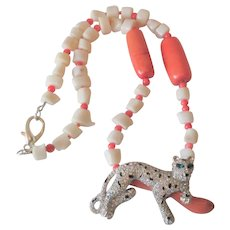 Signed Kenneth Jay Lane Necklace Vintage 1990s Coral Ivory Glass Beaded Rhinestone Leopard Cheetah Pendant KJL