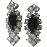 Art Deco Rhinestone Clip Earrings Vintage 1940s Black Jet Glass Clear Evening Special Occasion Pair