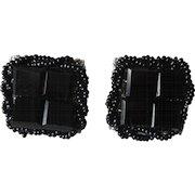 Vendome Clip Earrings Vintage 1950s Black Jet Glass Beaded Screwback Clip Coro Pair Set