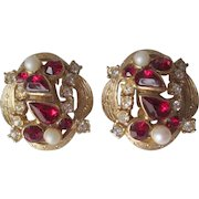 Vintage 1950s Clip Earrings Gold Plated Ruby Red Clear Rhinestone Faux Pearl